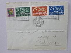 SUISSE / SCHWEIZ / SVIZZERA / SWITZERLAND // 1927, Flugbrief, 100Jahre Pestalozzi - Gedenkflug BRUGG - YVERDON => SCHWYZ - Luftpost