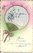 Bonne Année Carte Fantaisie Avec Peinture Sur Toile Ajourée éventail - Fancy Cards