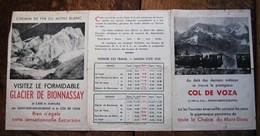 """1939,BEAU DEPLIANT """" CHEMIN DE FER DU MONT-BLANC"""",COL DE VOZA,GLACIER BIONNASSAY,CHAMONIX,ST GERVAIS,ALPES,TRAIN"""