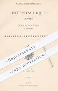 Original Patent - Jean Schoenner In Nürnberg , 1879 , Miniatur - Druckerpresse | Presse , Pressen , Druck , Buchdruck !! - Historical Documents