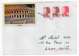 Lettre Illustrée Arènes De Nîmes-30 Avec Composition Type Liberté Dont Roulette-Belles Griffes Linéaires 44-NANTES-R.P - Marcophilie (Lettres)