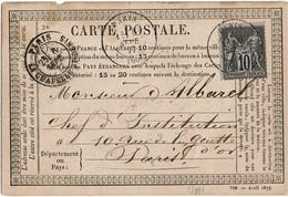 CTN46 - CARTE PRECURSEUR MOD. AVRIL 1877 CIRCULEE PARIS X VILLE SEPTEMBRE 1877 - Entiers Postaux