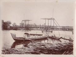 Photo Originale : Viet-Nam Indochine Tan-An Le Pont Levis Sur L'Arroyo De La Poste - Antiche (ante 1900)