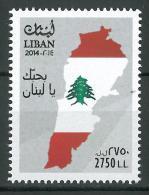 Lebanon 2014 New Stamp MNH - Independence Day - I Love You Lebanon - Flag - Map - Liban
