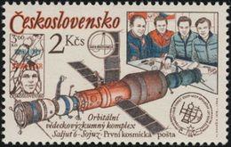 Czechoslovakia / Stamps (1979) 2362: INTERKOSMOS (CSSR-USSR 1978) Salyut 6 - Soyuz; Painter: Vladimir Kovarik - Space