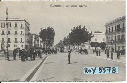 Sicilia-palermo-via Della Liberta'veduta Carrozze Con Cavalli Persone Animatissima Primi 900 - Palermo