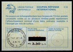 ISRAEL Bale 45 International Reply Coupon Reponse Antwortschein IRC IAS  3.30 / 2.00 L.I.  O TEL AVIV 1.4.76 FD! - Israel