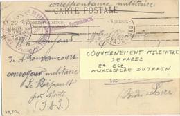 GUERRE 14-18 GOUVERNEMENT MILITAIRE DE PARIS 8e Cie AUXILIAIRE DU TRAIN + GRIFFE L'ADJUDANT-VAGUEMESTRE PARIS 22-6-15 - Marcophilie (Lettres)