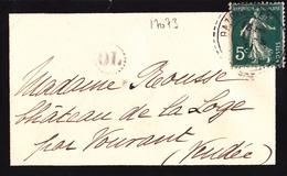17073# SEMEUSE LETTRE CARTE DE VISITE OL ORIGINE LOCALE Ob BAZOGES EN PAREDS VENDEE 1911 FB84 CHATEAU DE LA LOGE VOUVANT - 1877-1920: Semi Modern Period