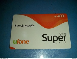 Pakistan Rs 500 Ufone Mobile Company Super Card Used - Télécartes