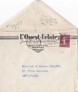 17080# LETTRE PUBLICITE OUEST ECLAIR Obl RENNES ILLE ET VILAINE 1935 Pour PONT L'ABBE FINISTERE - Marcofilie (Brieven)