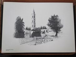 HOLY LAND DRAWING ILLUSTRATION PAINTING TERRE SAINTE RAPHY MAYMON Mount Of Olives Mont Olive PICTURE 23 X 30