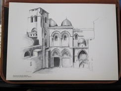 HOLY LAND DRAWING ILLUSTRATION PAINTING TERRE SAINTE RAPHY MAYMON CHURCH HOLY SEPULCHER SEPULCRE PICTURE 23 X 30