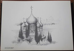 HOLY LAND DRAWING ILLUSTRATION PICTURE PAINTING TERRE SAINTE RAPHY MAYMON CHURCH RUSSIAN MAGADALEN MADELEINE 23 X 30