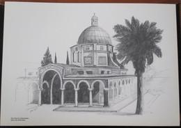 HOLY LAND DRAWING ILLUSTRATION PICTURE PAINTING TERRE SAINTE RAPHY MAYMON CHURCH BEATITUDES JERUSALEM 23 X 30 - Religion & Esotericism