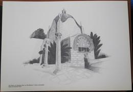 HOLY LAND DRAWING ILLUSTRATION PICTURE PAINTING TERRE SAINTE RAPHY CHURCH DOMINUS FLEVIT JERUSALEM EGLISE 23 X 30