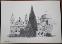 HOLY LAND DRAWING ILLUSTRATION PICTURE PAINTING TERRE SAINTE RAPHY CHURCH OF MIRACLE CANA 23 X 30