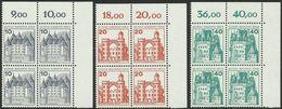Berlin Burgen & Schlösser Eckrandviererblocks 10+20+40 Pfg 1977 Xx - Unused Stamps