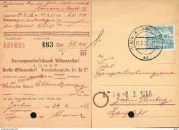 Berlin  Michel Nr. 121 Einzelfrankatur 7 (Pf.) Bauten Scheck Genossenschaftsbank Wilmersdorf Aus Dem Jahr 1956 - Cheques & Traverler's Cheques