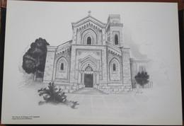 HOLY LAND DRAWING ILLUSTRATION PICTURE PAINTING TERRE SAINTE RAPHY CHURCH EMMAUS EL QUBEIBEH EGLISE 23 X 30 - Godsdienst & Esoterisme