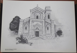 HOLY LAND DRAWING ILLUSTRATION PICTURE PAINTING TERRE SAINTE RAPHY CHURCH EMMAUS EL QUBEIBEH EGLISE 23 X 30