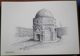 HOLY LAND DRAWING ILLUSTRATION PICTURE PAINTING TERRE SAINTE RAPHY CHAPEL ASCENSION CHAPELLE JERUSALEM EGLISE 23 X 30