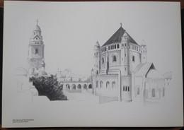 HOLY LAND DRAWING ILLUSTRATION PICTURE PAINTING TERRE SAINTE RAPHY DORMITION JERUSALEM EGLISE 23 X 30