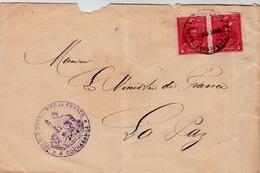 BOLIVIE  LETTRE  1901 AGENCE CONSULAIRE DE FRANCE A COCHABAMBA POUR LA PAZ - Bolivia