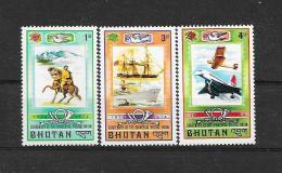 BHUTAN 1974  Mi.  Nr°  592,594,595(**) - Bhutan