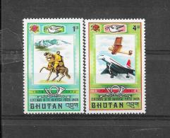 BHUTAN 1974  Mi.  Nr°  592,595(**) - Bhoutan