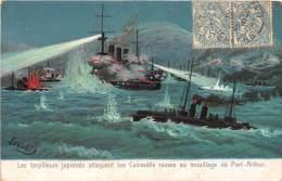 THEME GUERRE RUSSO JAPONAISE 1905 / Torpilleurs Japonais Attaquent Les Cuirassés Russes - Guerres - Autres