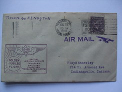 CANADA 1928 Golden Jubilee Flight Cover - Canadian National Exhibition Toronto To Kingston - 1911-1935 George V
