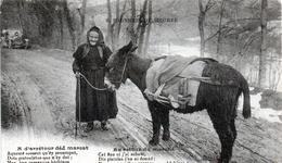 -A1-  CPA 65 BAGNERES DE BIGORRE AU RETOUR DU MARCHE  Femme  âne - Bagneres De Bigorre