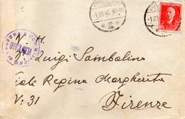 1940 LETTERA CON ANNULLO VALONA X FIRENZE + CENSURA - Albania