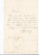"""ANNE JOSEPHINE CIZOS DITE """"ANNA CHERI"""" PUIS CHERI LESUEUR ACTRICE FRANCAISE (CHARTRES 1826 1912) LETTRE A SIGNATURE 1855 - Autographes"""