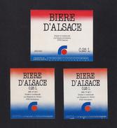 3 Etiquette Bière Française.  Beer.   Bière D'Alsace Pour L'enseigne CONTINENT. - Beer