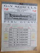 Kalender Calendrier 1931 - Pub Reclame Peru Guano Moreels Gent - Merk De Ploeg - Calendriers