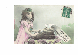 Cpa Style Bergeret Bonne Année & Bonheur Fillette Tape à La Machine à écrire Marque YOST Mode Bijoux Robe Dactylographie - Szenen & Landschaften