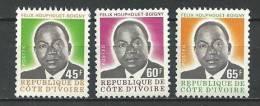 """Cote Ivoire YT 431 à 433 """" Pt Houphouët-Boigny, 3 TP Roulette """" 1976 Neuf** - Côte D'Ivoire (1960-...)"""