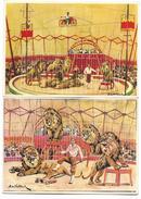 Cirque - Lot De 2 Cartes - CIRCUS PILATUS - N° 4 Et 6 -  Les Lions Présentés Par M. BÜHLMANN - Zirkus