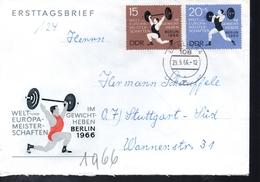 DDR   Lettre  1966  Halterophilie