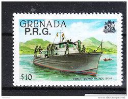 Grenada  -   1982.  Lancia Guardacoste.  Coast Guard Patrol Boat.  Ovpt.  P.R.G.. MNH, Rare! - Barche