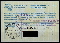 ISRAEL Bale 48 International Reply Coupon Reponse Antwortschein IRC IAS  3.50 / 3.30 / 2.00 L.I.  O TEL AVIV 15.8.76 FD! - Israel