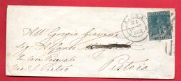 Italie. Toscane. Timbre N°. 13. 2 Crazie Vert-bleu Sur Lettre De Siena à Pistoia Du 21 Avril 1858