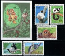 "MADAGASCAR  1983   MNH   -  "" FAUNE - LEMURIENS  ""  -  5 VAL + 1 BLOC. - Madagascar (1960-...)"