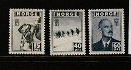 NORVEGE N° 264/367/268 EMIS A LONDRES PAR LE GOUVERNEMENT EN EXIL NEUF AVEC CHARNIERE