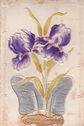CPA  FLEURS IRIS Velours  Style Art Nouveau  Bonne Année - Flowers