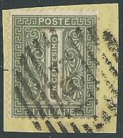 1863-65 REGNO USATO CIFRA 1 CENT TIRATURA TORINO - S14-14 - Usati