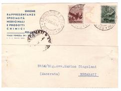 STORIA POSTALE - ITALIA - ANNO 1945 - UNIONE RAPPRESENTANZE SPECIALITà MEDICINALI E PRODOTTI CHIMICI - PESARO - - Storia Postale