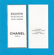Cartes Parfumées Carte ÉGOÏSTE PLATINUM POUR HOMME De CHANEL 10 Cm X 4.5 Cm - Modern (from 1961)
